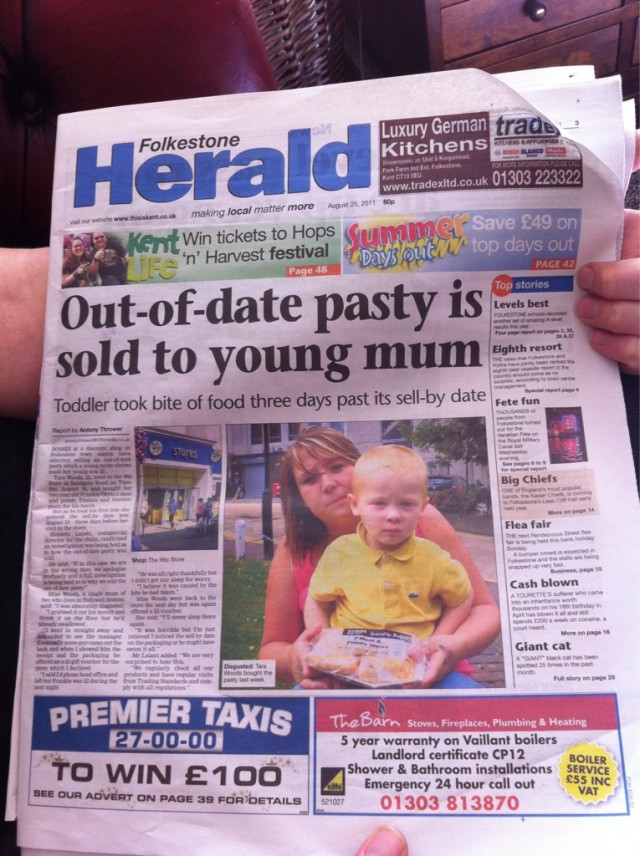 out of date pasty is sold to young mum 640x856 Herald Headline