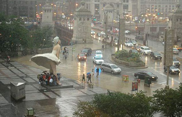 Chicagoans seek shelter from the rain under Forever Marilyn's upskirt Chicagoans seek shelter from the rain under Forever Marilyn's upskirt