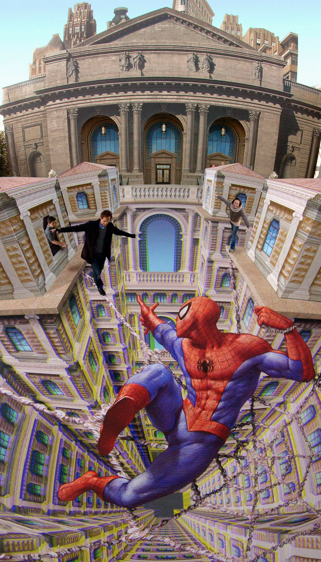 Spiderman Street Art Spiderman street art by Kurt Wenner